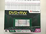 Verbatim 95085 4.7GB 120 Minutes 1X - 4X Rewritable DVD+RW Discs - 30 Pack With Video Trim Cases