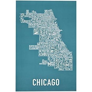 Amazoncom Chicago Neighborhoods Map Art Poster Teal White - Chicago neighborhood map art