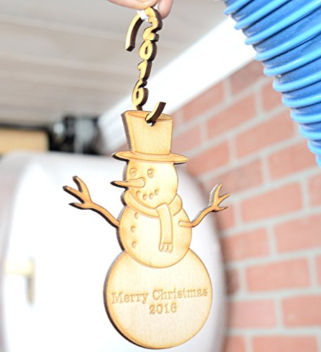(Snowman Holiday Ornament for Decoration (in birch or clear acrylic) with 2017 hanging hook )