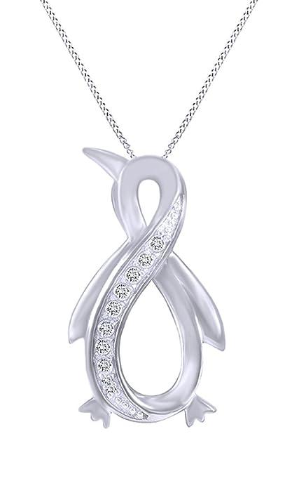 88fd654044 Collana con ciondolo infinity a forma di pinguino, con diamante bianco  naturale. Oro 14
