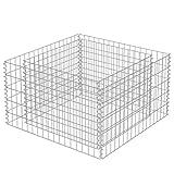 vidaXL Gabion Planter Galvanised Steel 90x90x50cm Stone Basket Raised Bed