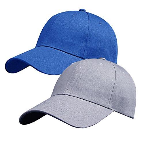 Pack of 2, Plain Baseball Cap Blank Hat, (Blue & Grey)