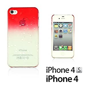 OnlineBestDigital - Transparent Gradient Water Drop Design Hard Back Case for Apple iPhone 4S / Apple iPhone 4 - Red