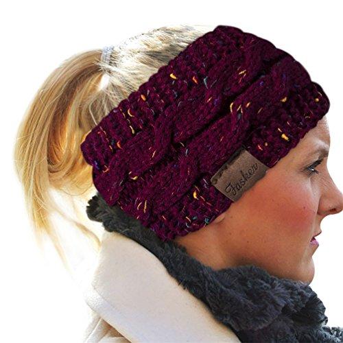 Fasker Womens Knit Confetti Cable Headband Crochet Twist Head Wrap Ear Warmer