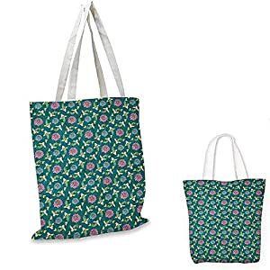 "Fish small clear shopping bag Asian Traditional Carp Koi Lily Pattern Japanese Traditional Motifs Marine sloth shopping bag Teal Coral Pale Green. 16""x18""-13"""