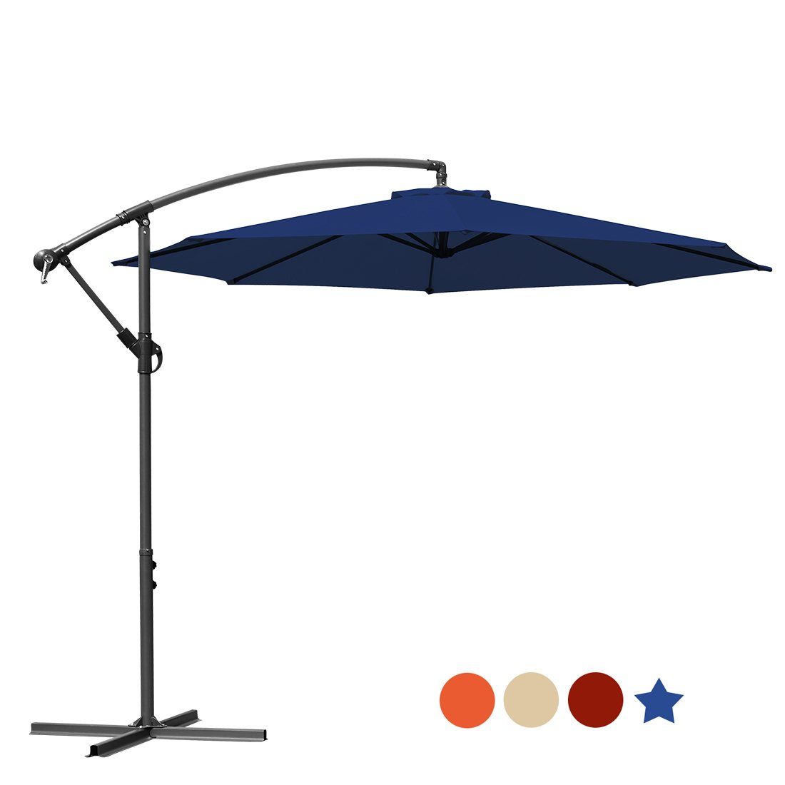 MASVIS Offset Umbrella 10 Ft Cantilever Patio Umbrella Outdoor Market Umbrellas Crank with Cross Base, 8 Ribs (10FT, Blue)