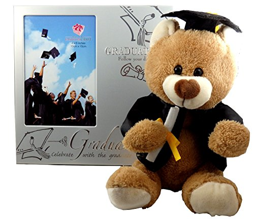 Graduation Gifts Set for Him or Her College or High School Grad - Picture Frame and Teddy Bear with Cap and Gown for Nursing Teen Juniors Women 8th Grade