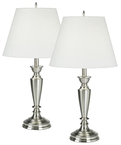 Set of two brushed steel table lamps household lamp sets amazon set of two brushed steel table lamps aloadofball Image collections