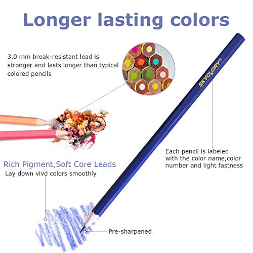 72 Colored Pencils, Coloring Drawing Pencils, Oil Based Professional Watercolor Pencils for Artists Adults, Sketching Shading Coloring Book with Vibrant Colors