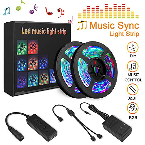 Tenmiro Led Strip Lights, 32.8ft Trichromatic RGB Sync to Music Color Changing Light Strips,12V 600 Unit SMD 3528 LED,Flexible Non-Waterproof Tape Light,Decoration for Living Room Bedroom Bar,Party ()