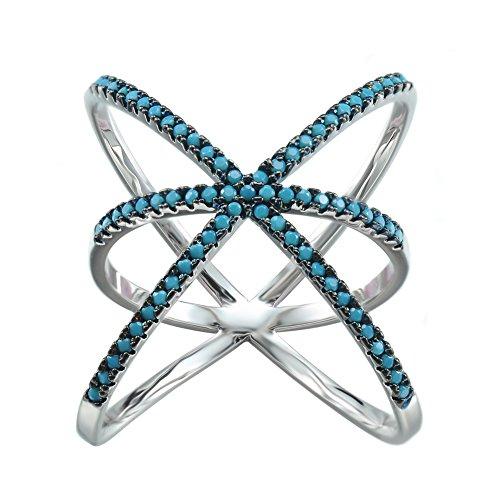 KIVN Fashion Jewelry Criss Cross Over Tiny Pave