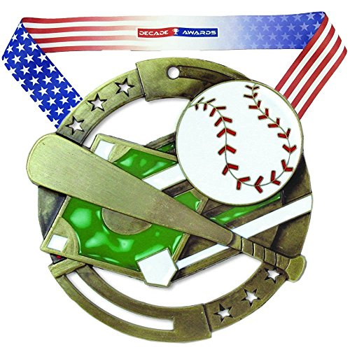 (Decade Awards Baseball M3XL Premium Die Cast Color Medal - Gold   Great Medal for The Game   Includes Stars and Stripes American Flag V Neck Ribbon   2.75 Inch Wide)