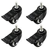 OCR 50MM Caster Rubber Base 360 Degree Caster Rubber Wheel With Brake for Shopping carts, Hand Trolley, Tools, Movable Furniture,Office Chair 4 Pcs Black (2''-Threaded shaft Wheel)