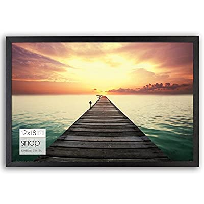 Snap 12x18 Black Wood Wall Photo Frame - Timeless flat black frame holds a 12x18 image without a mat Contemporary narrow frame profile and flex tab back opening allowing you to easily add and remove photos or art Each frame includes ready-to-hang durable hangers on the back for vertical or horizontal hanging options - picture-frames, bedroom-decor, bedroom - 51mRrZICd9L. SS400  -