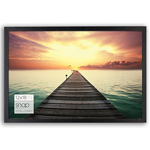 SNAP 12 by 18 Inch Black Wood Photo Frame - Lightweight Frames Glass