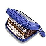 Leather Credit Card Wallet for Men RFID Credit Card Holder Protector ID Wallet Zipper Blue