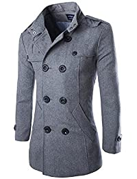 """<span class=""""a-offscreen"""">[Sponsored]</span>Mens Stylish Winter Wool Double Breasted Pea Coat Half Trench Coat"""