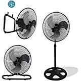 Premium Large High Velocity Industrial Floor Fan 18 Floor Stand Mount Oscillating - Cool Black & Silver