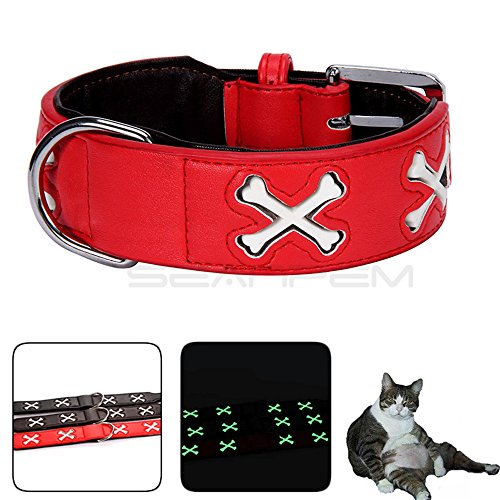[Inpay - Reflective Adjustable Dog PU Leather Widen Collar - Soft & Comfy Cross/Bones Style with D-Ring - Improved Dog Visibility & Safety & Fun (Red, Bones M(17.71