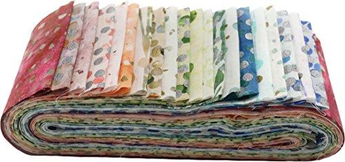 Batik Strips (Bali Batiks Spring Bali Poppy 20 2.5-inch Strips Jelly Roll Hoffman Fabrics BPP-145-SPRING)
