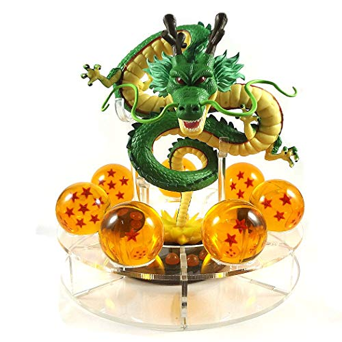 PLAYOLY Acrylic Dragon Ball Set Z Shenron Action Figure Statue 7pcs 3.5cm Balls Stand (Statue Figure Set)