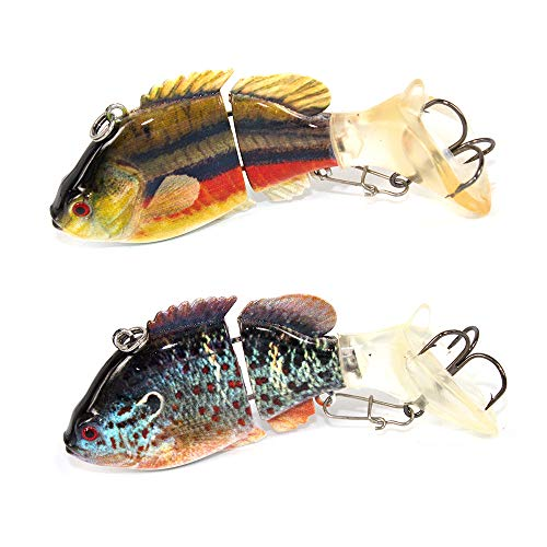 Alilure Fishing Lures Slowing Sinking Swimbaits Crankbaits 2 Segment Rattles Traps for Bass Trout 3.2
