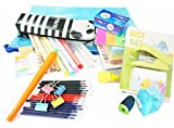 School and Office Writing Essentials Kit - Package Includes Pencils, Pens, Eraser, Sharpener, Pen bag, Stapler, Notes paper, Zipper Pack and More