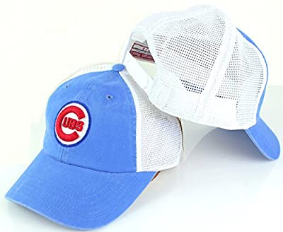 American Needle MLB Raglan Bones Mesh Back Twill Dad Cap (Chicago Cubs, Blue/White)