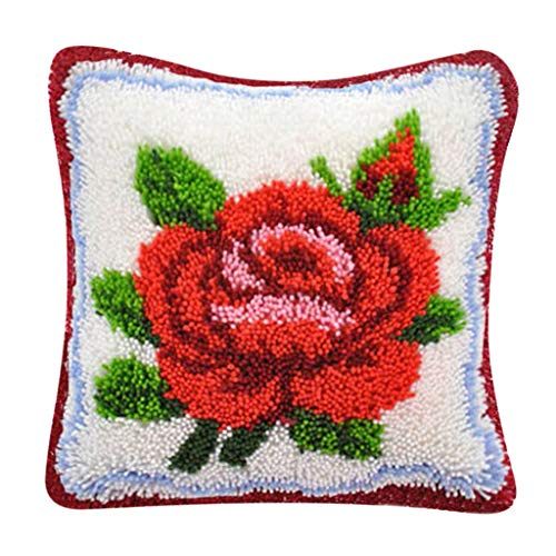 (Prettyia Flower Latch Hook Rug Kit DIY Embroidery Cross Stitch Needlework for Cushion Pillow Case - Red Rose)