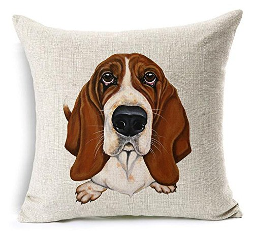 16 x 16 Inches Cotton Linen Cartoon Lovely Animal Abstract Oil Painting Adorable Pet Dogs Basset Hound Throw Pillow Covers Cushion Cover Decorative Sofa Bedroom Living Room Square (Sofas Basset)