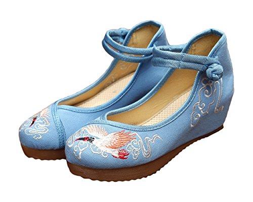 Avacostume Womens Broderi Kil Sandaler Mode Balklänning Skor Blå
