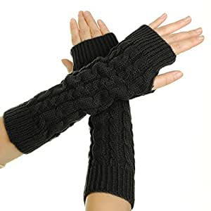 Flammi Women's Cable Knit Arm Warmer Fingerless Gloves Thumb Hole Gloves Mittens (Black)