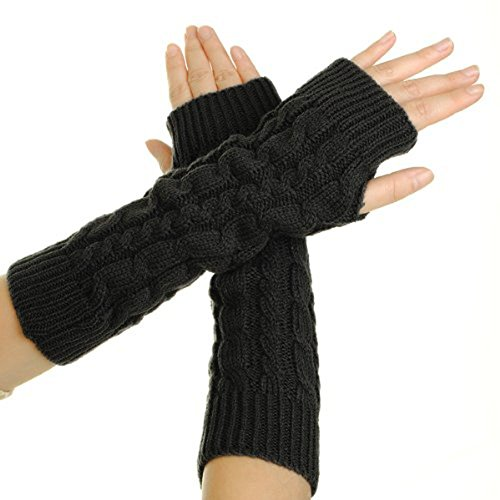 Flammi Women's Cable Knit Arm Warmers Fingerless Gloves Thumb Hole Gloves Mittens (Black) -