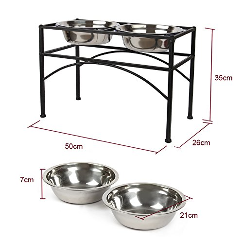 - Funkeen Black Pet Bowl Frame Double Diner Stand Dog Cat Elevated Feeder, Small, Medium, Large