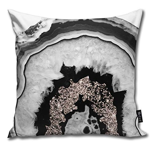 (Gray Black White Agate with Rose Gold Glitter # #gem #Decor #Art #Society Pillowcase Home Life Cotton Cushion Case 18 x 18 inches)