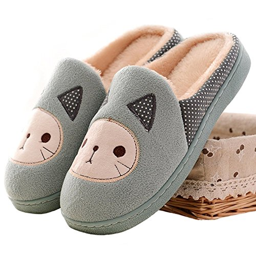 Minetom Damen Mädchen Herbst Winter Plüsch Hausschuhe Wärme Cartoon Katze gepolsterte Schuhe Türkis