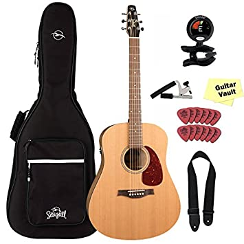 Seagull S6 Original QIT Acoustic Electric Guitar With Gig Bag And Accessory Pack