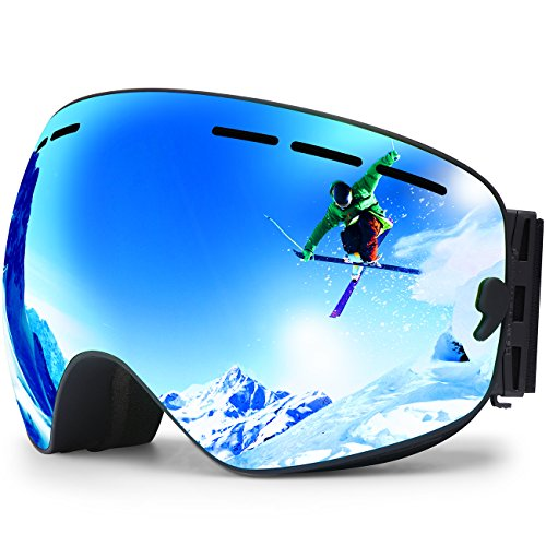 Ski Goggles,Winter Snow Sports Snowboard Goggles Full Mirror Coated Lens Spherical Lens UV Protection Anti-Fog Detachable Strap,Golden