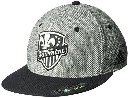- adidas MLS Montreal Impact Men's Heathered Gray Fabric Flat Visor Flex Hat, Small/Medium, Gray