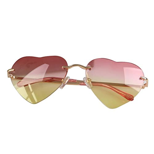 Vogholic Fashion Women's Rimless Heart Shape Cupid Sunglasses with Case