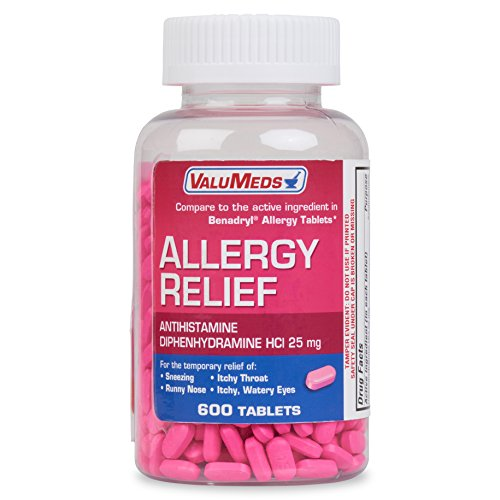 ValuMeds Allergy Medicine (600 Tablets) Antihistamine, Diphenhydramine HCl 25 mg | Children and Adults | Relieve Itchy Eyes, Runny Nose, Sneezing (Compare to Active Ingredient in Benadryl Allergy)