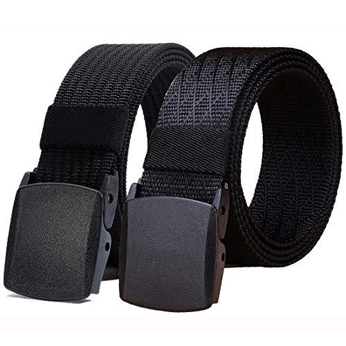 WYuZe Black Nylon Webbing Belt-2 Pack Plastic Military Tactical Web Belt for Men,Black W+black S,Waist: 28