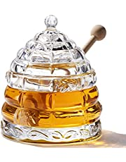 2 Dippers and Honey Jar, Handmade Beehive Honey Jar with Wooden Dipper Set, Glass Honey Bee Pot and Lid for Storage by PAULSWAY