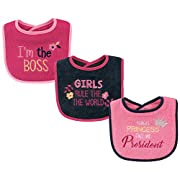 Luvable Friends Basic Drooler 3 Piece Bib Set, Girls Rule, One Size