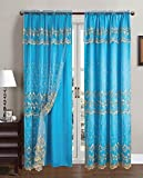 Aliya Embroidered Panel With Attached Valance And Backing, 55×84 Inches, 2-Pack (Aqua-Blue-Gold) For Sale