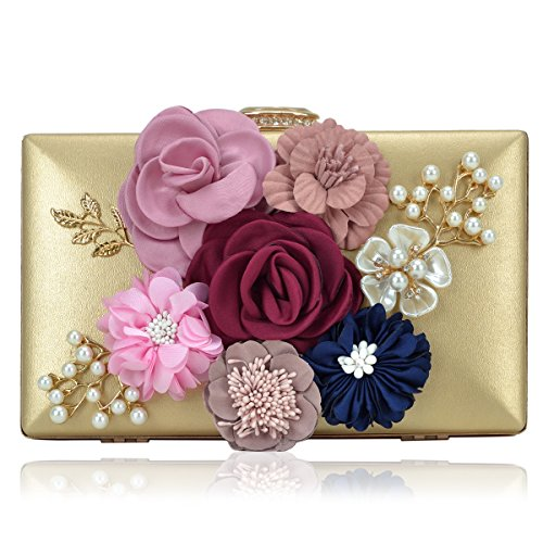 Flowers Gold Bag - Women Flower Clutches Handbags Designer Evening Bags Prom Party Wedding Cocktail Purses with Pearls Beaded