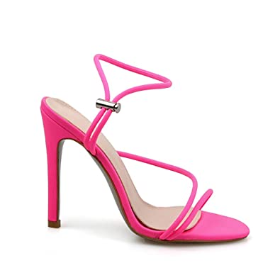 2730bc32239 Women Shoes Neon Black Orange Green Pink Lycra Strappy Toggle Heels Pointed  Toe Thin Heels Sandal