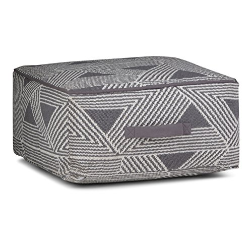 Simpli Home Headley Square Pouf, Patterned White and Grey by Simpli Home