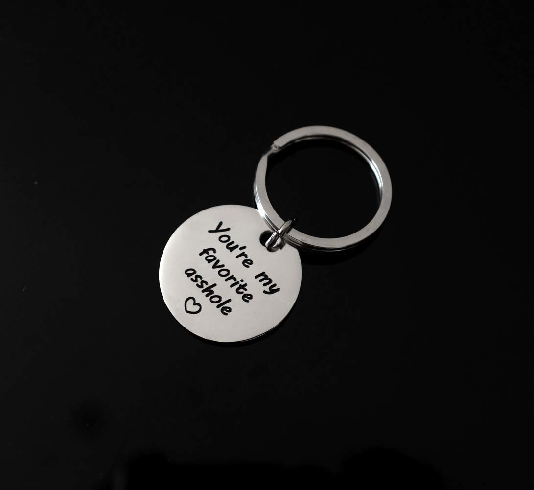 Banana Bucket Funny Couples Keychain You/'re My Favorite Ashole Style 1