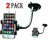 2 Pack Universal Mount Adapter,iBrabe Holder for Smart Phones,such as: iPhone X,7(Plus),8(Plus),6(Plus) 5S 5C 5 4S ipod, Samsung galaxy s7,s8,S8+,S6 S5 and More Cell Phone,Clip (black+black)